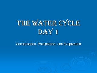 Evaporation, Condensation, and Precipitation