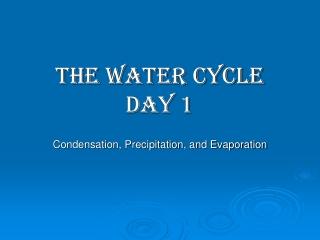 Evaporation, Condensation, and Precipitation