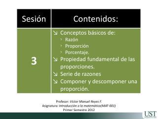 Profesor:  Víctor Manuel Reyes F. Asignatura:  Introducción a la matemática (MAT-001)