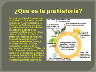 ¿Que  es  la  prehistoria ?