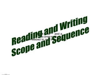 Reading and Writing Scope and Sequence