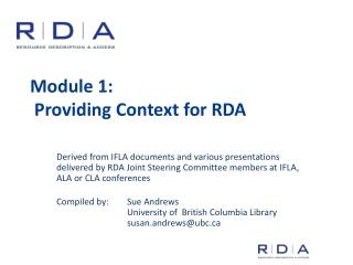 Module 1:  Providing Context for RDA