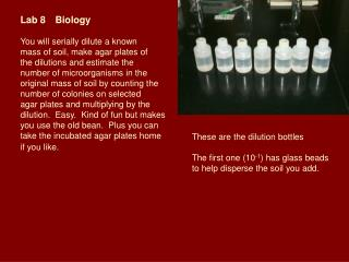 Lab 8	Biology You will serially dilute a known  mass of soil, make agar plates of