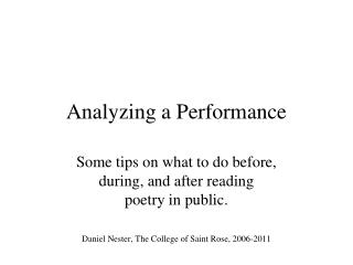 Analyzing a Performance