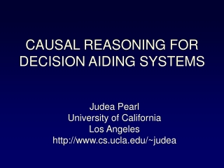 Judea Pearl University of California Los Angeles cs.ucla