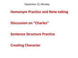 September 12, Monday