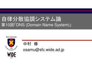 自律分散協調システム論 第 10 回「 DNS (Domain Name System) 」