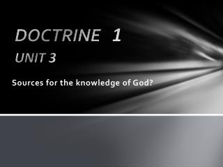 Sources for the knowledge of God?