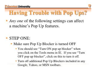 Having Trouble with Pop Ups?