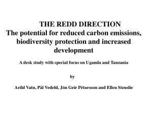 THE REDD DIRECTION