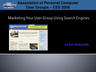 Marketing Your User Group Using Search Engines