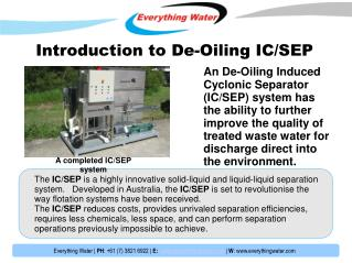 Introduction to  De-Oiling IC/SEP