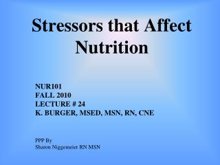 Stressors that Affect Nutrition