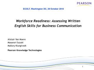 Workforce Readiness: Assessing Written  English Skills for Business Communication