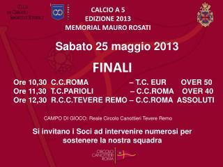 CALCIO A 5 EDIZIONE 2013 MEMORIAL MAURO ROSATI