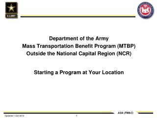 Department of the Army Mass Transportation Benefit Program (MTBP)