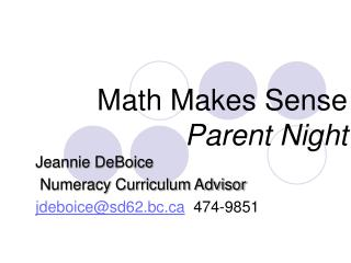 Math Makes Sense Parent Night
