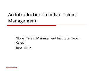 An Introduction to Indian Talent Management