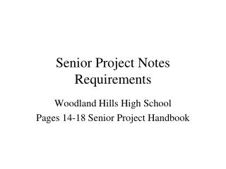 Senior Project Notes Requirements