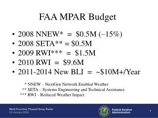 FAA MPAR Budget