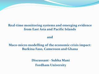 Discussant -  Subha  Mani Fordham University