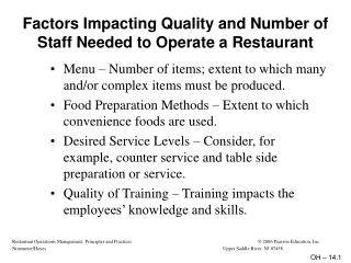 Factors Impacting Quality and Number of Staff Needed to Operate a Restaurant