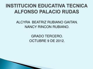 INSTITUCION EDUCATIVA TECNICA ALFONSO PALACIO RUDAS