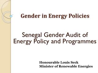 Gender in Energy Policies