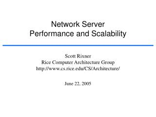 Network Server Performance and Scalability