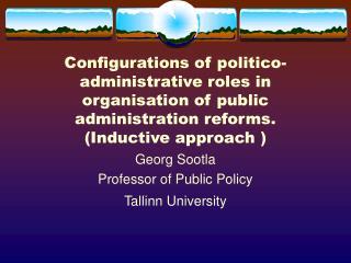 Georg Sootla Professor of Public Policy Tallinn University