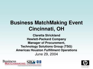 Business MatchMaking Event Cincinnati, OH