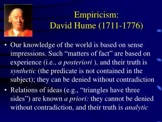 Empiricism: David Hume (1711-1776)