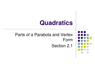 Learning Objectives for Section 2.3 Quadratic Functions