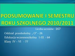 PODSUMOWANIE I SEMESTRU ROKU SZKOLNEGO 2010/2011