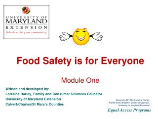 Food Safety is for Everyone  Module One
