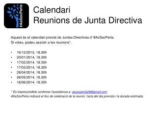 Calendari Reunions de Junta Directiva