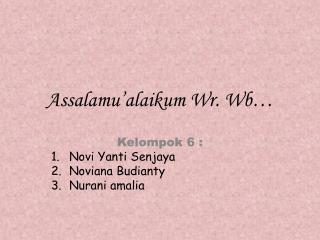 Assalamu�alaikum Wr .  Wb �