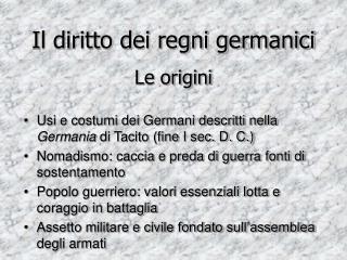 Il diritto dei regni germanici