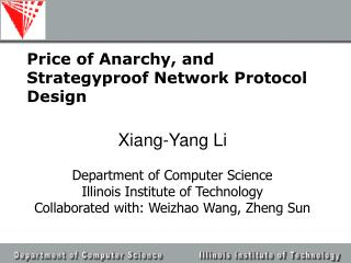 Price of Anarchy, and Strategyproof Network Protocol Design
