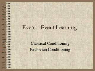 Event - Event Learning