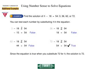 Using Number Sense to Solve Equations