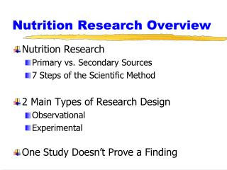 Nutrition Research Overview