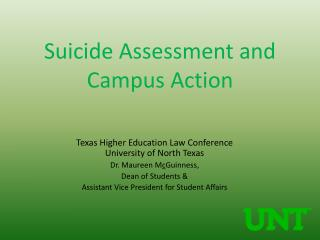Suicide Assessment and Campus Action