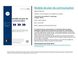 Modèle de plan de communication ISBN 2-916429-04-2