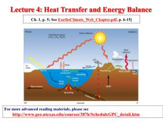 Lecture 4:  Heat Transfer and Energy Balance
