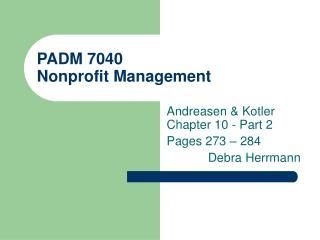 PADM 7040 Nonprofit Management
