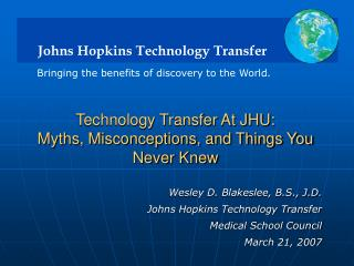 Technology Transfer At JHU: Myths, Misconceptions, and Things You Never Knew
