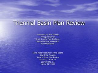 Triennial Basin Plan Review