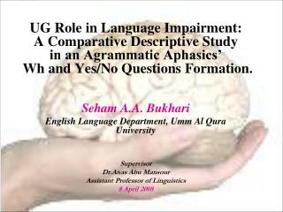 Seham A.A. Bukhari English Language Department, Umm Al Qura University Supervisor