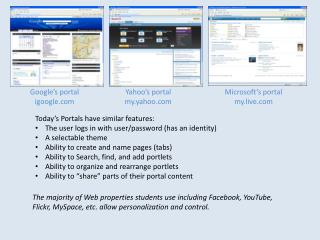 Today's Portals have similar features: The user logs in with user/password (has an identity)